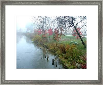 Fog On The Muskegon River Framed Print