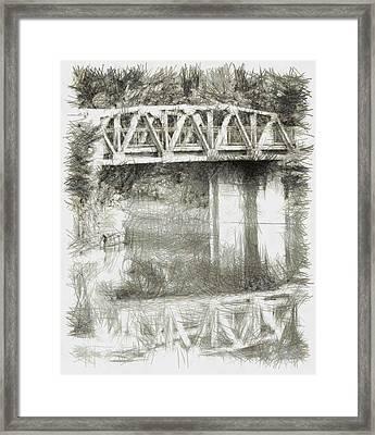Fogged Overpass - Sketch Framed Print