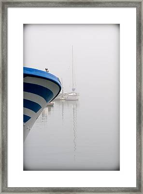 foggy days 1 - a fishing boat and a vessel in a foggy day at Port Mahon Framed Print by Pedro Cardona