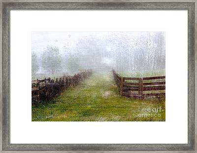 Foggy Fence Framed Print
