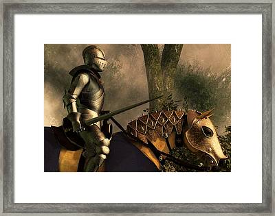 Foggy Forest Knight Framed Print by Daniel Eskridge