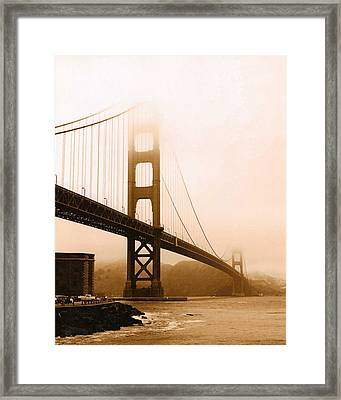 Foggy Golden Gate In Sepia Framed Print by Rhonda Jackson