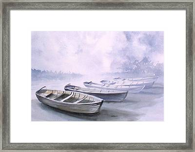 Framed Print featuring the painting Foggy Morning by Richard Willows