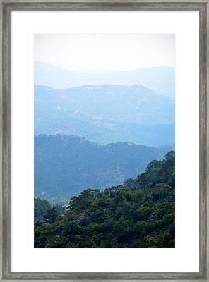 Foggy Mountain Layers Framed Print