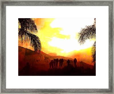 Foggy Palms Framed Print
