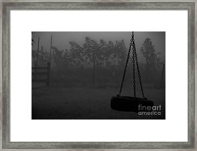Foggy Playground Framed Print by Cheryl Baxter