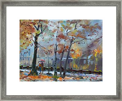 Foggy Rain By The Lake Framed Print by Ylli Haruni