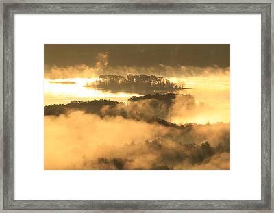 Foggy Sunrise Quabbin Islands Framed Print by John Burk