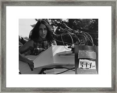 Folk Singer Joan Baez Singing Framed Print by Everett