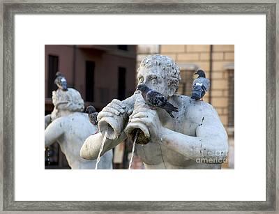 Fontana Del Moro In Piazza Navona. Rome Framed Print by Bernard Jaubert
