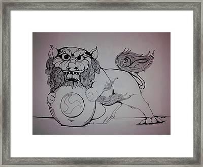 Foo Lion Framed Print by Ronald Mcduff