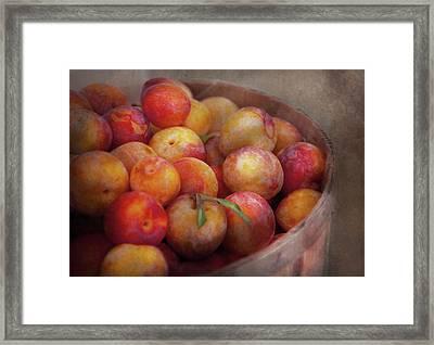 Food - Peaches - Farm Fresh Peaches  Framed Print by Mike Savad