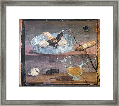 Food And Glass Dishes, Roman Fresco Framed Print by Sheila Terry