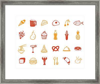 Food Icon Set Framed Print