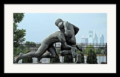 Football Statue Citizens Bank Park City View Philadelphia Framed Prints