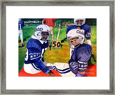 Football Buddies Framed Print