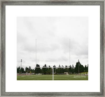 Football Field And Goalpost Framed Print by Andersen Ross