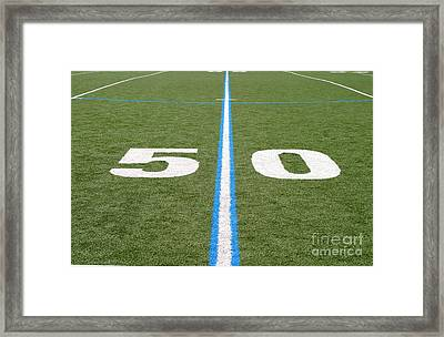 Framed Print featuring the photograph Football Field Fifty by Henrik Lehnerer