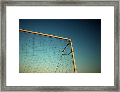 Football Goalpost And Net Framed Print by Kevin Button