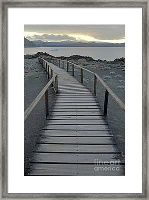 Footbridge On Volcanic Landscape Framed Print by Sami Sarkis