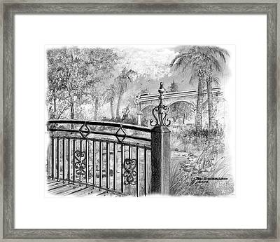 Framed Print featuring the drawing Footbridge-spanish Springs by Jim Hubbard