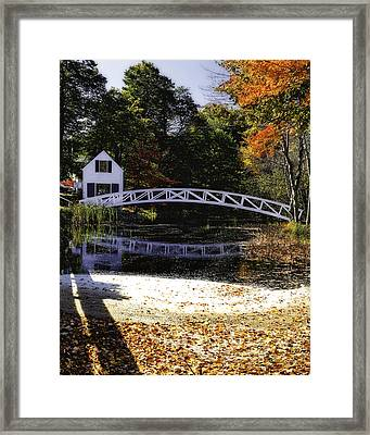 Footbridge With Autumn Colors Framed Print by George Oze
