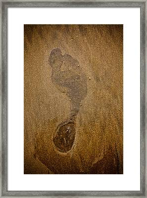 Footprint In The Sand Framed Print by Anthony Doudt