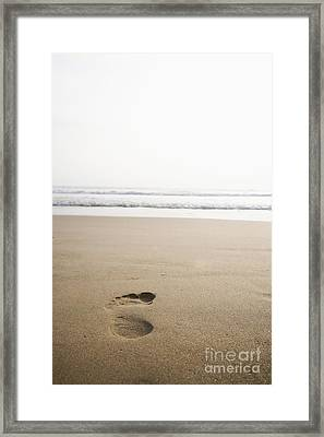 Footprint In The Sand Framed Print