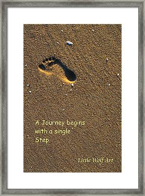 Footprint On Beach Quote Framed Print