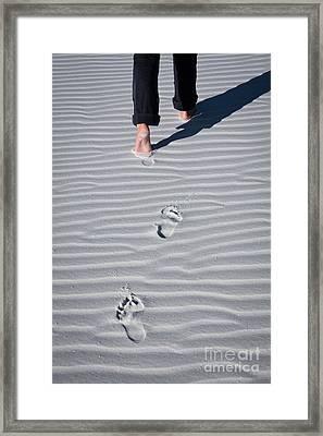 Footprint On White Sand Framed Print