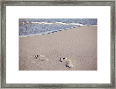 Footprints In Sand Framed Print by Niamh O' Reilly