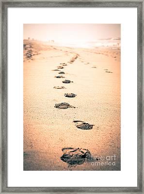 Footprints In Sand Framed Print by Paul Velgos