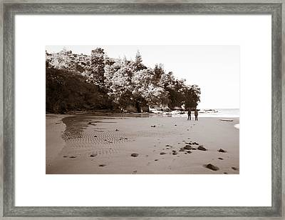 Footprints On The Beach Framed Print by Graeme Knox