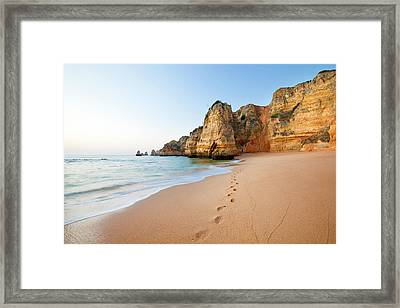 Footsteps In Sand Framed Print by Monica and Michael Sweet