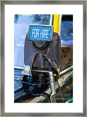 For Hire Sign On Taxi Framed Print by Inti St. Clair