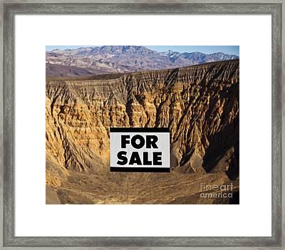 For Sale Sign In Desert Landscape Framed Print by David Buffington
