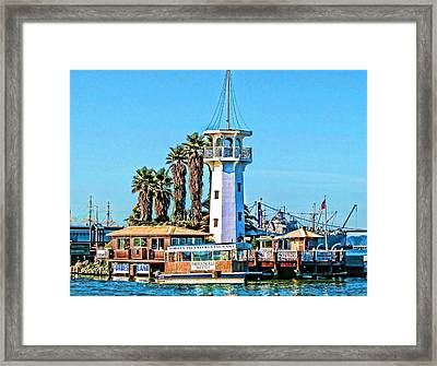 Forbes Island Lighthouse Framed Print by Linda Gesualdo