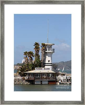 Forbes Island Restaurant With Alcatraz Island In The Background . San Francisco California . 7d14257 Framed Print