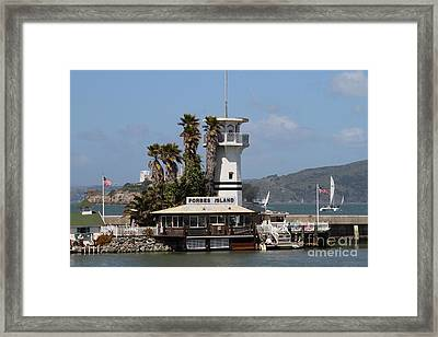 Forbes Island Restaurant With Alcatraz Island In The Background . San Francisco California . 7d14258 Framed Print