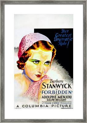 Forbidden, Barbara Stanwyck, 1932 Framed Print by Everett