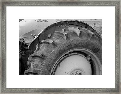 Ford Tractor In Black And White Framed Print by Jennifer Ancker
