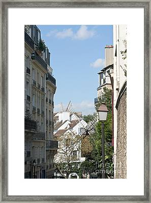 Foreshortening Of Paris With Windmill Sails Framed Print