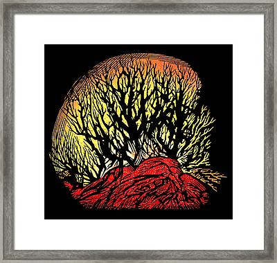 Forest Fire, Lino Print Framed Print
