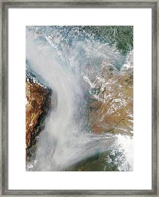 Forest Fires In South America Framed Print by Nasa