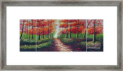 Forest Path Framed Print by Kostas Dendrinos