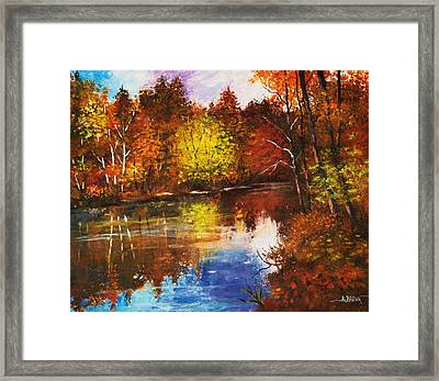Framed Print featuring the painting Forest Reflectons by Al Brown