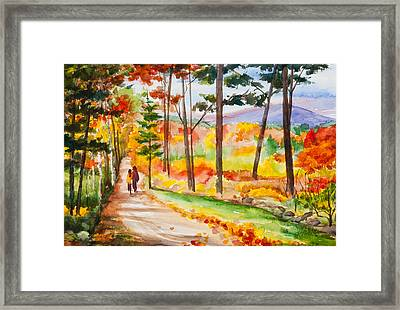 Forever Autumn Watercolor Painting Framed Print by Michelle Wiarda