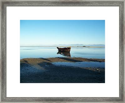 Framed Print featuring the photograph Forgotten Boat Wreck Near Motueka by Peter Mooyman