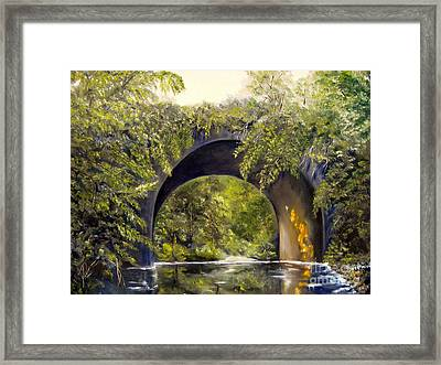 Framed Print featuring the painting Forgotten Train Bridge by Carol Sweetwood