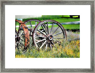 Forgotten Wagon Wheel Framed Print by Sarai Rachel